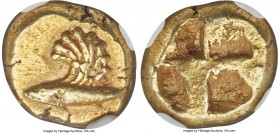 MYSIA. Cyzicus. Ca. 600-550 BC. EL sixth-stater or hecte (11mm, 2.68 gm). NGC Choice XF 4/5 - 4/5. Tunny fish left, with single large, curved griffin ...