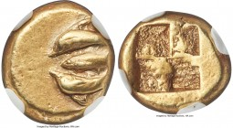 MYSIA. Cyzicus. Ca. 550-450 BC. EL sixth-stater or hecte (11mm, 2.73 gm). NGC XF 4/5 - 4/5. Tunny fish between two dolphins, all swimming to left / Qu...