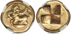 MYSIA. Cyzicus. Ca. 550-450 BC. EL sixth-stater or hecte (11mm, 2.61 gm). NGC VF 5/5 - 5/5. Bearded centaur kneeling left, head right, transverse bran...