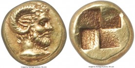 MYSIA. Cyzicus. Ca. 500-450 BC. EL 1/12 stater or hemihecte (9mm, 1.33 gm). NGC Choice AU S 5/5 - 3/5, scuff. Head of Zeus-Ammon right, with ram horn ...