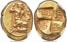 MYSIA. Cyzicus. Ca. 450-350 BC. EL sixth-stater or hecte (11mm, 2.60 gm). NGC Choice XF 4/5 - 3/5, Fine Style. Zeus, draped, kneeling right, scepter i...