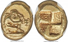 MYSIA. Cyzicus. Ca. 450-350 BC. EL sixth-stater or hecte (11mm, 2.70 gm). NGC Choice AU 5/5 - 3/5, Fine Style. Silenus kneeling right, supporting amph...