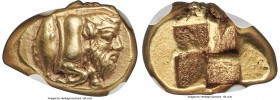 MYSIA. Cyzicus. Ca. 450-350 BC. EL sixth-stater or hecte (13mm, 2.67 gm). NGC Choice XF S 5/5 - 4/5. Forepart of river god Achelous swimming right, tu...