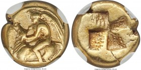 MYSIA. Cyzicus. Ca. 450-350 BC. EL sixth-stater or hecte (11mm, 2.68 gm). NGC Choice VF 4/5 - 4/5. Eros seated right on back of bull he is subduing by...
