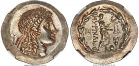 AEOLIS. Myrina. Ca. mid-2nd century BC. AR tetradrachm (32mm, 17.01 gm, 12h). NGC MS S 5/5 - 5/5. Ca. 155-145 BC. Laureate head of Apollo right / MYPI...