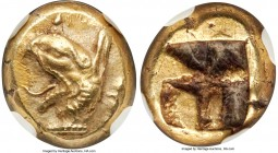 IONIA. Phocaea. Ca. 625-522 BC. EL sixth-stater or hecte (11mm, 2.61 gm). NGC AU S 5/5 - 5/5, Fine Style. Head of griffin left, beak gaping open and t...