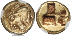 IONIA. Phocaea. Ca. 477-388 BC. EL sixth-stater or hecte (11mm, 2.55 gm). NGC Choice XF 5/5 - 4/5. Head of male horned goat left, truncation decorated...