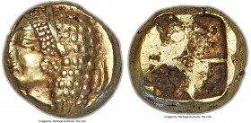 IONIA. Phocaea. Ca. 521-478 BC. EL sixth-stater or hecte (10mm, 2.53 gm). NGC Choice AU 3/5 - 4/5. Diademed female head left of archaic style, wearing...