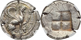 IONIA. Teos. Ca. 460-420 BC. AR stater (24mm, 11.90 gm). NGC AU S 4/5 - 4/5, overstruck. T-H-I-O-N, griffin seated right on ground line, left foreleg ...