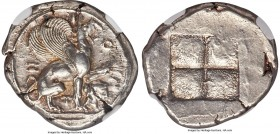 IONIA. Teos. Ca. 460-420 BC. AR stater (24mm, 12.03 gm). NGC AU 4/5 - 4/5. T-H-I-O-N, griffin seated right on ground line, left foreleg raised, beak o...