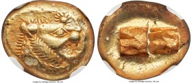 LYDIAN KINGDOM. Alyattes or Walwet (ca. 610-546 BC). EL third-stater or trite (12mm, 4.74 gm). NGC AU 5/5 - 3/5, countermark. Uninscribed, Lydo-Milesi...