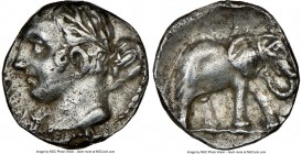 PUNIC SPAIN. Barcids. Ca. 237-209 BC. AR quarter shekel (12mm, 1.70 gm, 11h). NGC Choice XF 4/5 - 3/5. Head of Melqart or Hannibal left, club over sho...