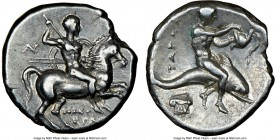 CALABRIA. Tarentum. Ca. 281-240 BC. AR stater or didrachm (20mm, 6.50 gm, 7h). NGC Choice XF 4/5 - 5/5. Nicocrates and An-, magistrates. Nude horseman...