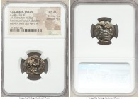CALABRIA. Tarentum. Ca. 240-228 BC. AR stater (20mm, 6.32 gm, 9h). NGC Choice AU 5/5 - 4/5. Philocles, Le- and (uncertain), magistrates. Nude youth on...