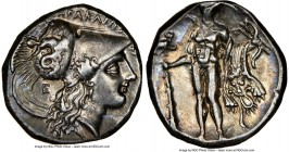 LUCANIA. Heraclea. Ca. 281-250 BC. AR stater (19mm, 7.90 gm, 5h). NGC Choice XF 4/5 - 4/5. ΗΕPΑΚΛΗΙΩ-Ν, head of Athena right, wearing Corinthian helme...