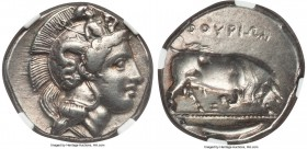 LUCANIA. Thurium. Ca. 410-350 BC. AR stater or nomos (22mm, 7.75 gm, 7h). NGC Choice XF S 5/5 - 5/5. Head of Athena right wearing crested Attic helmet...