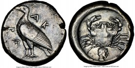 SICILY. Acragas. Ca. 485-470 BC. AR didrachm (19mm, 8.64 gm, 9h). NGC XF 5/5 - 4/5, light scuff. AK-PA, eagle standing left with closed wings / Crab s...