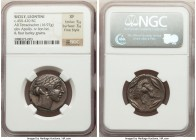 "SICILY. Leontini. Ca. 450-430 BC. AR tetradrachm (25mm, 16.97 gm, 2h). NGC XF 5/5 - 3/5, Fine Style. Laureate head of Apollo right in ""mannerist"" styl..."