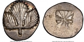 SICILY. Selinus. Ca. 540-480 BC. AR didrachm (25mm, 8.78 gm). NGC MS S 5/5 - 4/5. Ca. 540-515 BC. Wild parsley (selinon) leaf / Incuse square composed...
