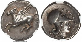 SICILY. Syracuse. Time of Timoleon, Third Democracy (ca. 344-317 BC). AR stater (23mm, 8.46 gm, 8h). NGC Choice AU 4/5 - 3/5, Fine Style, edge filing....