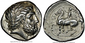 MACEDONIAN KINGDOM. Philip II (359-336 BC). AR tetradrachm (24mm, 14.37 gm, 11h). NGC Choice XF 5/5 - 4/5. Lifetime issue of Pella, ca. 356-348 BC. La...