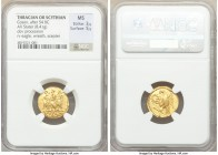 THRACIAN DYNASTS. Coson (ca. after 54 BC). AV stater (19mm, 8.41 gm, 1h). NGC MS 3/5 - 5/5. Ca. 44-42 BC. Roman consul (L. Junius Brutus) walking left...