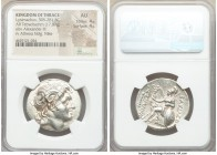 THRACIAN KINGDOM. Lysimachus (305-281 BC). AR tetradrachm (30mm, 17.07 gm, 1h). NGC AU 4/5 - 4/5. Pergamum, ca. 297-281 BC. Diademed head of deified A...