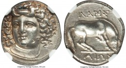 THESSALY. Larissa. 4th century BC. AR drachm (17mm, 6.08 gm, 6h). NGC Choice AU 4/5 - 4/5, Fine Style, flan flaw. Head of nymph Larissa facing, turned...