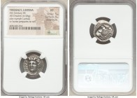 THESSALY. Larissa. Ca. 4th century BC. AR drachm (18mm, 6.06 gm, 4h). NGC XF 5/5 - 4/5, Fine Style. Head of nymph Larissa facing slightly left, hair i...