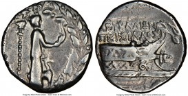 ACARNANIA. Leucas. Ca. 167-100 BC. AR stater or didrachm (21mm, 8.12 gm, 12h). NGC VF 4/5 - 4/5. Peisilaus, magistrate. Statue of Aphrodite Aineias ri...