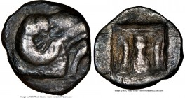 PHOCIS. Delphi. Ca. 5th century BC. AR trihemiobol (12mm, 1.14 gm, 9h). NGC VF 4/5 - 1/5, scratches. Ca. 450-400 BC. Large head of ram right, dolphin ...