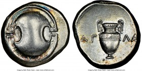 BOEOTIA. Thebes. Ca. 395-338 BC. AR stater (22mm, 12.28 gm, 11h). NGC AU 5/5 - 4/5. Agla-, magistrate, ca. 363-338 BC. Boeotian shield / Amphora, AΓ-Λ...