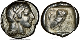 ATTICA. Athens. Ca. 475-465 BC. AR tetradrachm (25mm, 17.16 gm, 2h). NGC Choice XF 5/5 - 4/5. Head of Athena right with frontal eye and 'archaic smile...