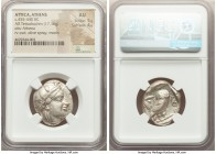 ATTICA. Athens. Ca. 455-440 BC. AR tetradrachm (23mm, 17.16 gm, 1h). NGC AU 5/5 - 4/5. Early transitional issue. Head of Athena right, wearing crested...