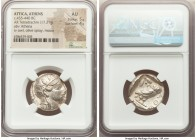 ATTICA. Athens. Ca. 455-440 BC. AR tetradrachm (24mm, 17.21 gm, 2h). NGC AU 5/5 - 4/5. Early transitional issue. Head of Athena right, wearing crested...