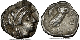 ATTICA. Athens. Ca. 454-404 BC. AR obol (9mm, 0.67 gm, 7h). NGC Choice XF S 5/5 - 3/5. Head of Athena right, wearing crested Attic helmet ornamented w...