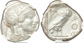 ATTICA. Athens. Ca. 440-404 BC. AR tetradrachm (24mm, 17.21 gm, 1h). NGC MS 5/5 - 5/5. Mid-mass coinage issue. Head of Athena right, wearing crested A...