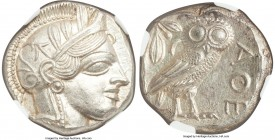 ATTICA. Athens. Ca. 440-404 BC. AR tetradrachm (23mm, 17.22 gm, 10h). NGC MS 5/5 - 5/5. Mid-mass coinage issue. Head of Athena right, wearing crested ...