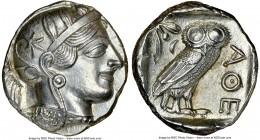 ATTICA. Athens. Ca. 440-404 BC. AR tetradrachm (23mm, 17.16 gm, 6h). NGC MS 5/5 - 4/5. Mid-mass coinage issue. Head of Athena right, wearing crested A...