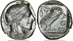 ATTICA. Athens. Ca. 440-404 BC. AR tetradrachm (23mm, 17.19 gm, 1h). NGC MS 5/5 - 4/5. Mid-mass coinage issue. Head of Athena right, wearing crested A...