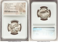 ATTICA. Athens. Ca. 440-404 BC. AR tetradrachm (26mm, 17.20 gm, 8h). NGC MS 5/5 - 4/5. Mid-mass coinage issue. Head of Athena right, wearing crested A...