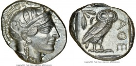 ATTICA. Athens. Ca. 440-404 BC. AR tetradrachm (26mm, 17.21 gm, 5h). NGC MS 5/5 - 4/5. Mid-mass coinage issue. Head of Athena right, wearing crested A...