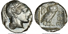 ATTICA. Athens. Ca. 440-404 BC. AR tetradrachm (21mm, 17.20 gm, 3h). NGC MS 4/5 - 5/5. Mid-mass coinage issue. Head of Athena right, wearing crested A...