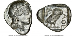 ATTICA. Athens. Ca. 440-404 BC. AR tetradrachm (23mm, 17.25 gm, 9h). NGC MS 4/5 - 5/5. Mid-mass coinage issue. Head of Athena right, wearing crested A...