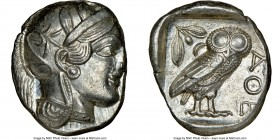 ATTICA. Athens. Ca. 440-404 BC. AR tetradrachm (21mm, 17.20 gm, 1h). NGC MS 4/5 - 5/5. Mid-mass coinage issue. Head of Athena right, wearing crested A...