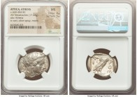 ATTICA. Athens. Ca. 440-404 BC. AR tetradrachm (26mm, 17.22 gm, 12h). NGC MS 4/5 - 5/5. Mid-mass coinage issue. Head of Athena right, wearing crested ...