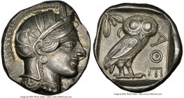 ATTICA. Athens. Ca. 440-404 BC. AR tetradrachm (25mm, 17.22 gm, 1h). NGC Choice AU S 5/5 - 5/5. Mid-mass coinage issue. Head of Athena right, wearing ...