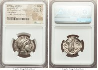ATTICA. Athens. Ca. 440-404 BC. AR tetradrachm (26mm, 17.17 gm, 11h). NGC Choice AU S 5/5 - 4/5. Mid-mass coinage issue. Head of Athena right, wearing...