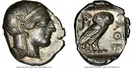 ATTICA. Athens. Ca. 440-404 BC. AR tetradrachm (24mm, 17.21 gm, 7h). NGC Choice AU 5/5 - 5/5, Fine Style. Mid-mass coinage issue. Head of Athena right...