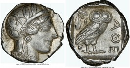 ATTICA. Athens. Ca. 440-404 BC. AR tetradrachm (24mm, 17.22 gm, 3h). NGC Choice AU 5/5 - 4/5. Mid-mass coinage issue. Head of Athena right, wearing cr...